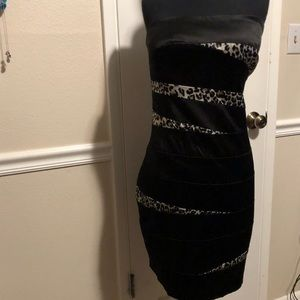 Dresses & Skirts - Black and leopard print dress